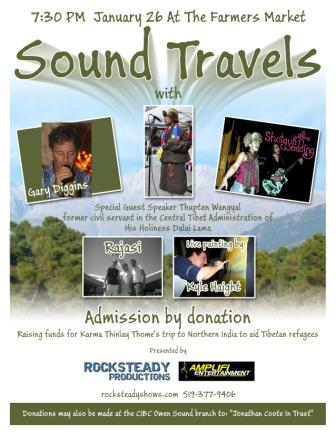 sound travels, gary diggins, tibet, benefit, concert, owen sound